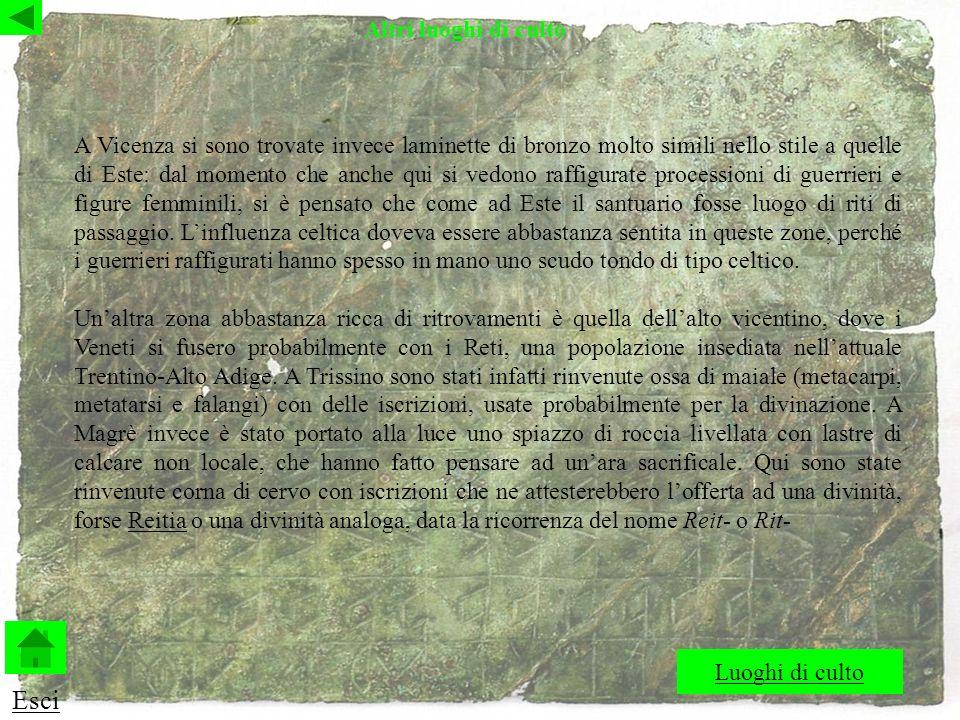 A Vicenza si sono trovate invece laminette di bronzo molto simili nello stile a quelle di Este: dal momento che anche qui si vedono raffigurate processioni di guerrieri e figure femminili, si è pensato che come ad Este il santuario fosse luogo di riti di passaggio.