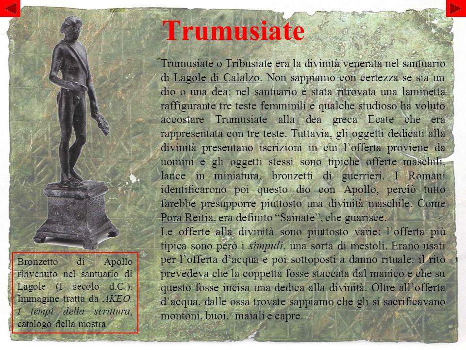 Trumusiate Bronzetto di Apollo rinvenuto nel santuario di Lagole (I secolo d.C.).