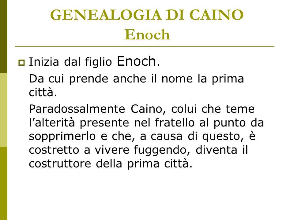 GENEALOGIA DI CAINO Enoch Inizia dal figlio Enoch. Da cui prende anche il nome la prima città. Paradossalmente Caino, colui che teme lalterità present