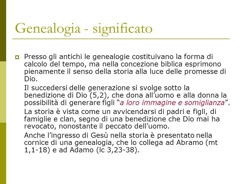 Genealogia - significato Presso gli antichi le genealogie costituivano la forma di calcolo del tempo, ma nella concezione biblica esprimono pienamente
