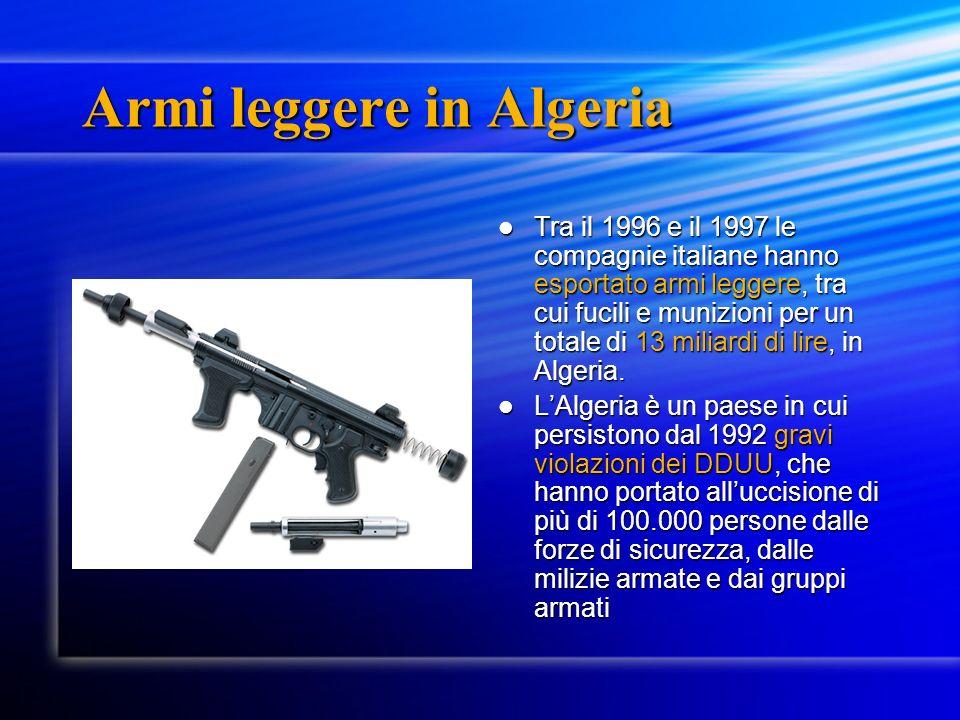 Armi leggere in Algeria Tra il 1996 e il 1997 le compagnie italiane hanno esportato armi leggere, tra cui fucili e munizioni per un totale di 13 miliardi di lire, in Algeria.