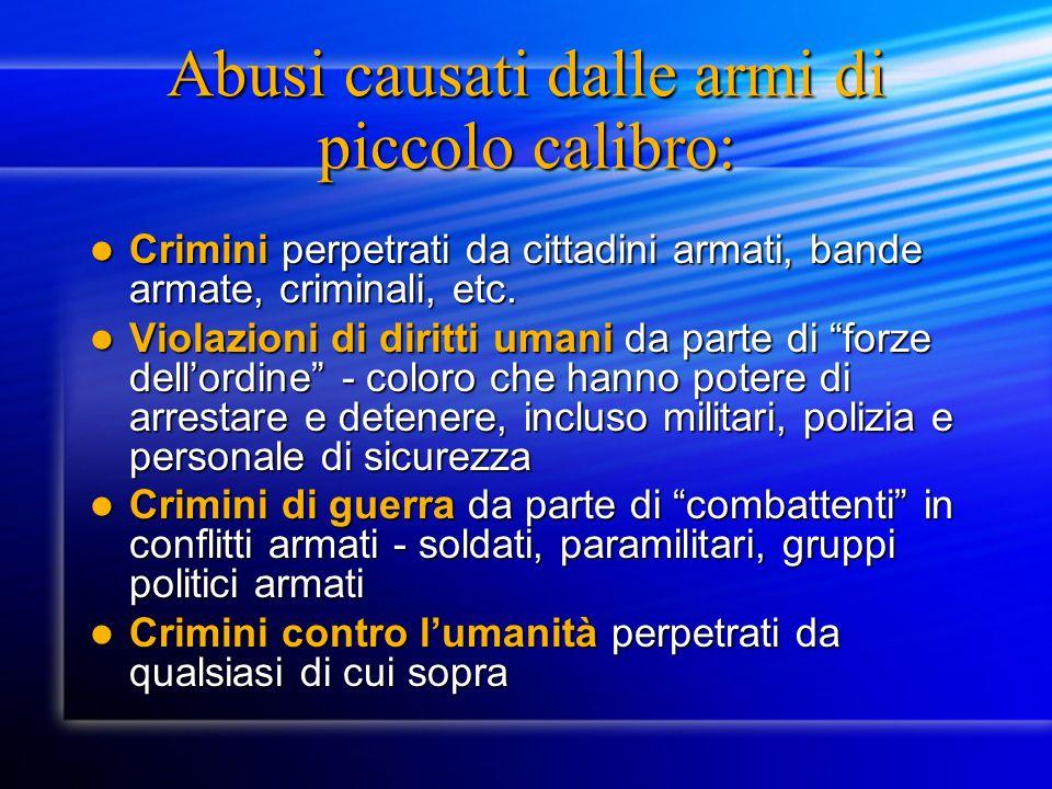 Abusi causati dalle armi di piccolo calibro: Crimini perpetrati da cittadini armati, bande armate, criminali, etc.