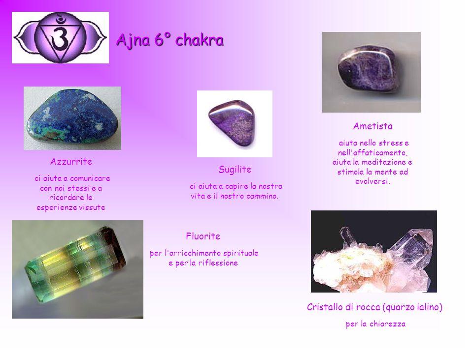 Ajna 6° chakra Ametista aiuta nello stress e nell'affaticamento, aiuta la meditazione e stimola la mente ad evolversi. Azzurrite ci aiuta a comunicare
