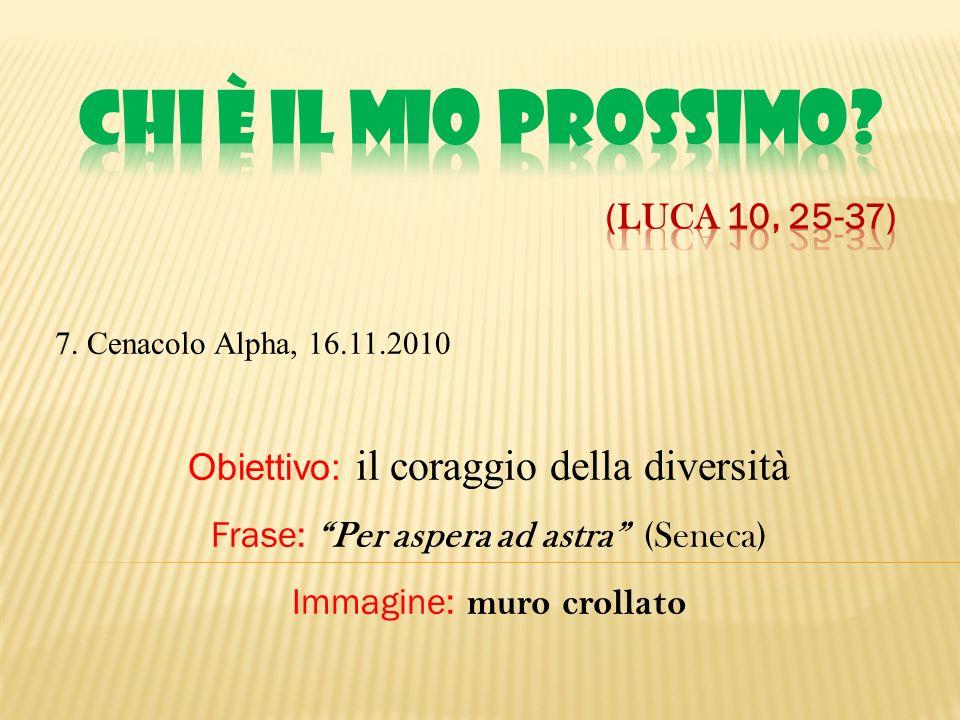7. Cenacolo Alpha, 16.11.2010 Obiettivo: il coraggio della diversità Frase: Per aspera ad astra (Seneca) Immagine: muro crollato