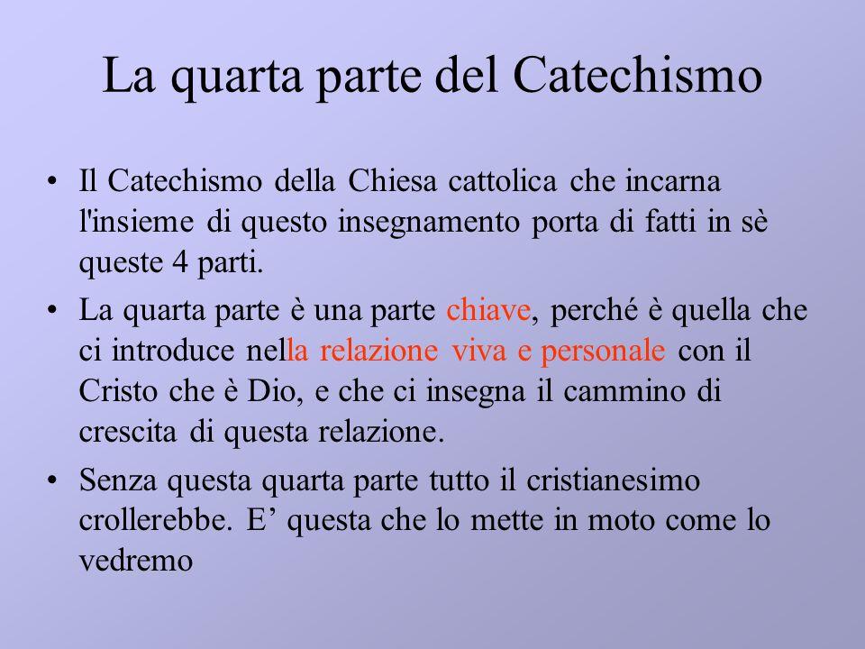 La quarta parte del Catechismo Il Catechismo della Chiesa cattolica che incarna l'insieme di questo insegnamento porta di fatti in sè queste 4 parti.
