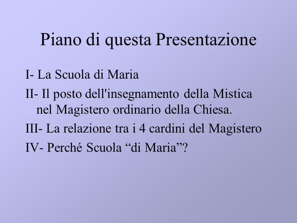 Piano di questa Presentazione I- La Scuola di Maria II- Il posto dell'insegnamento della Mistica nel Magistero ordinario della Chiesa. III- La relazio