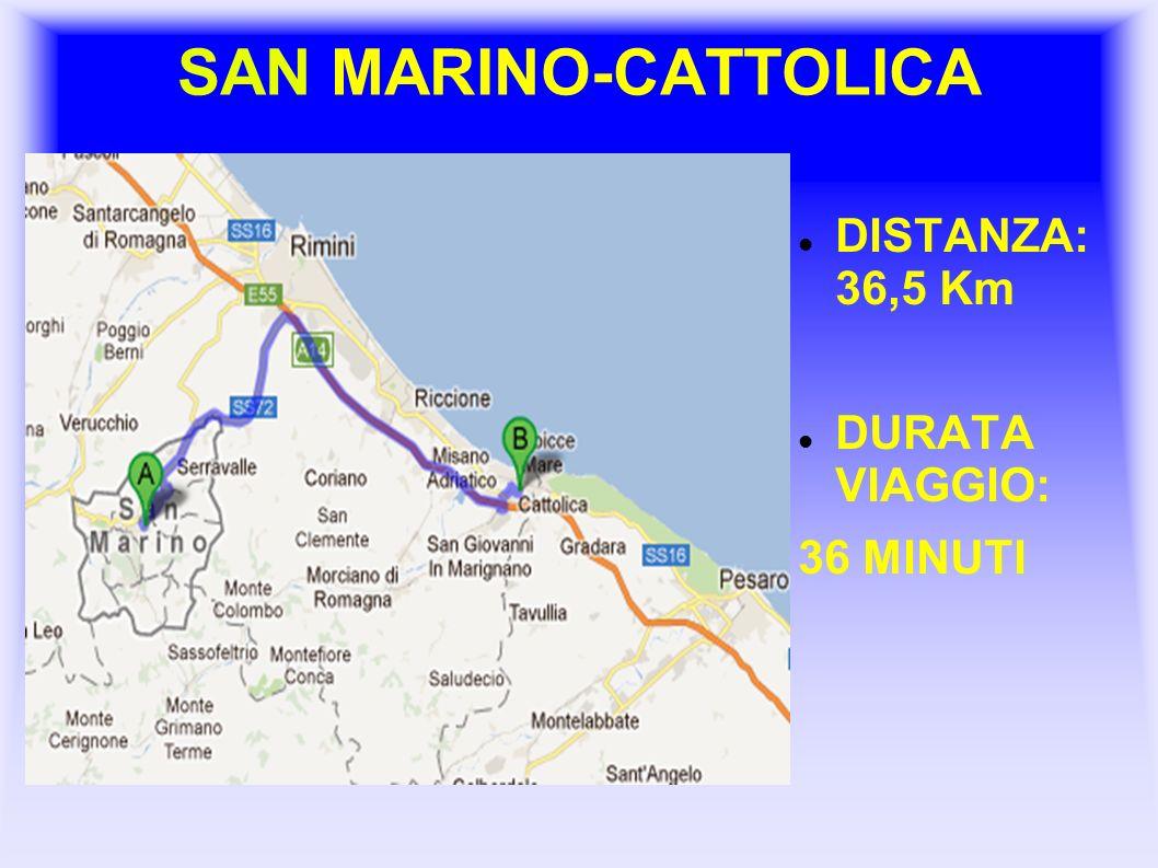 SAN MARINO-CATTOLICA DISTANZA: 36,5 Km DURATA VIAGGIO: 36 MINUTI