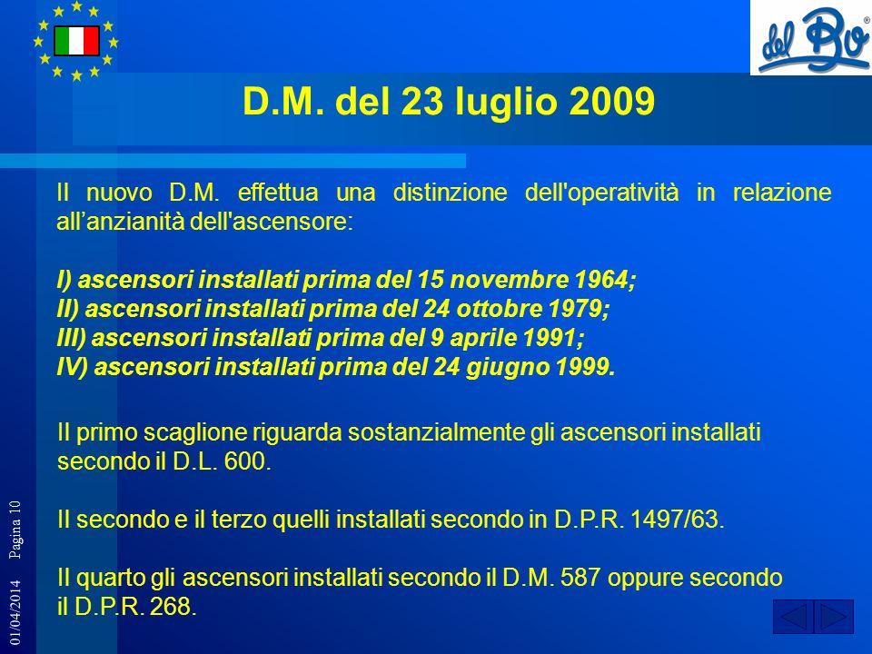 01/04/2014 Pagina 10 D.M. del 23 luglio 2009 Il nuovo D.M. effettua una distinzione dell'operatività in relazione allanzianità dell'ascensore: I) asce