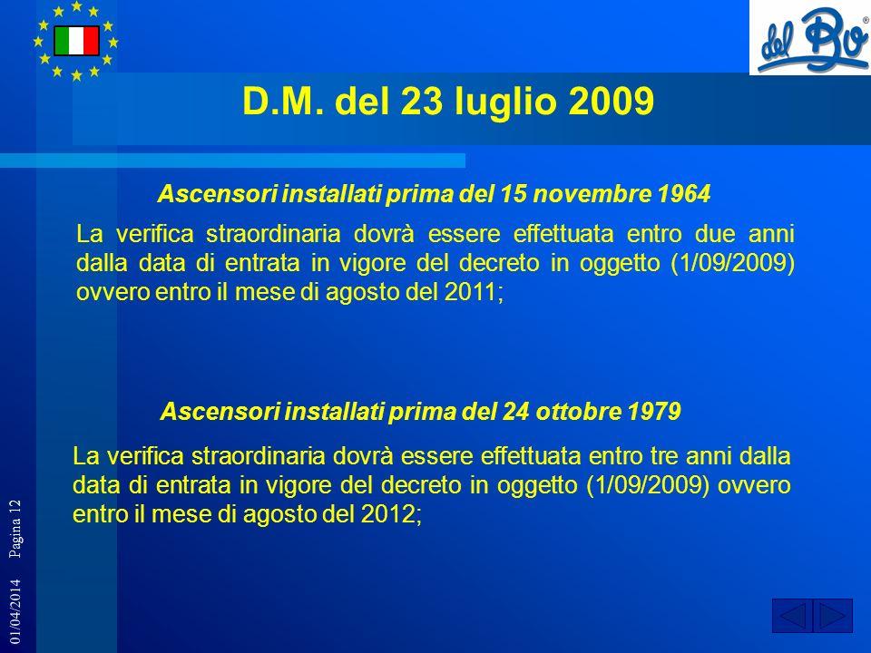 01/04/2014 Pagina 12 D.M. del 23 luglio 2009 La verifica straordinaria dovrà essere effettuata entro due anni dalla data di entrata in vigore del decr