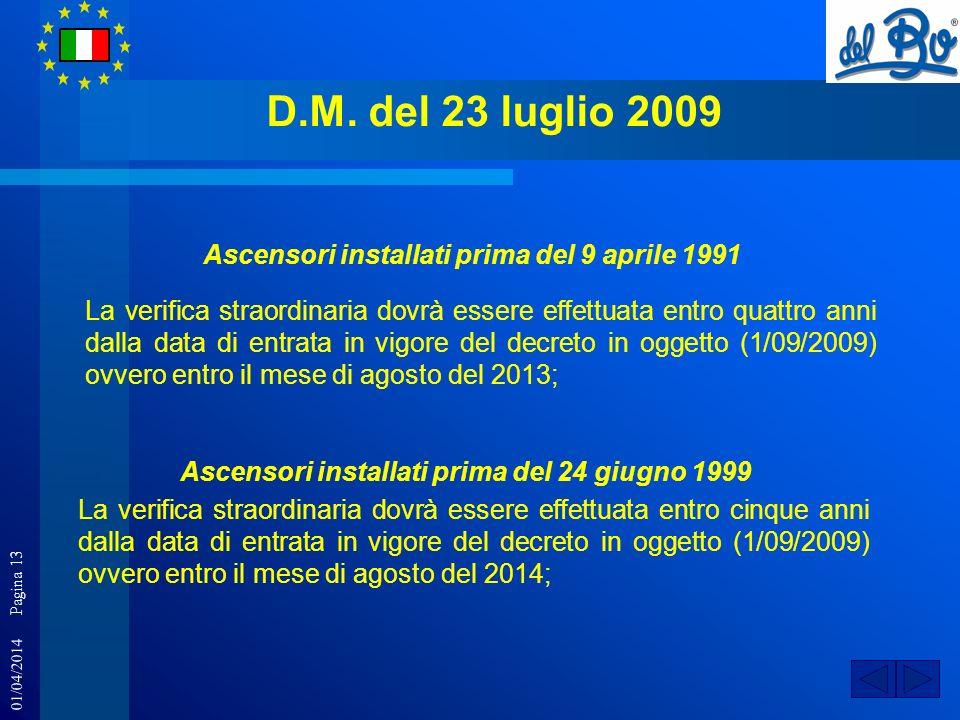 01/04/2014 Pagina 13 D.M. del 23 luglio 2009 Ascensori installati prima del 9 aprile 1991 La verifica straordinaria dovrà essere effettuata entro quat