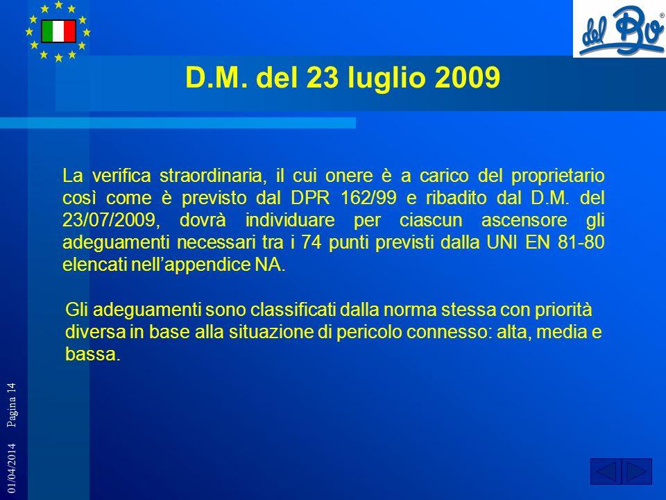 01/04/2014 Pagina 14 D.M. del 23 luglio 2009 La verifica straordinaria, il cui onere è a carico del proprietario così come è previsto dal DPR 162/99 e