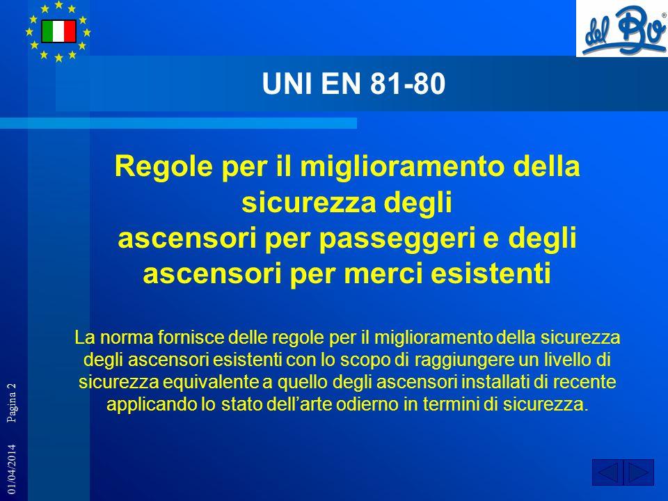 01/04/2014 Pagina 2 UNI EN 81-80 Regole per il miglioramento della sicurezza degli ascensori per passeggeri e degli ascensori per merci esistenti La n