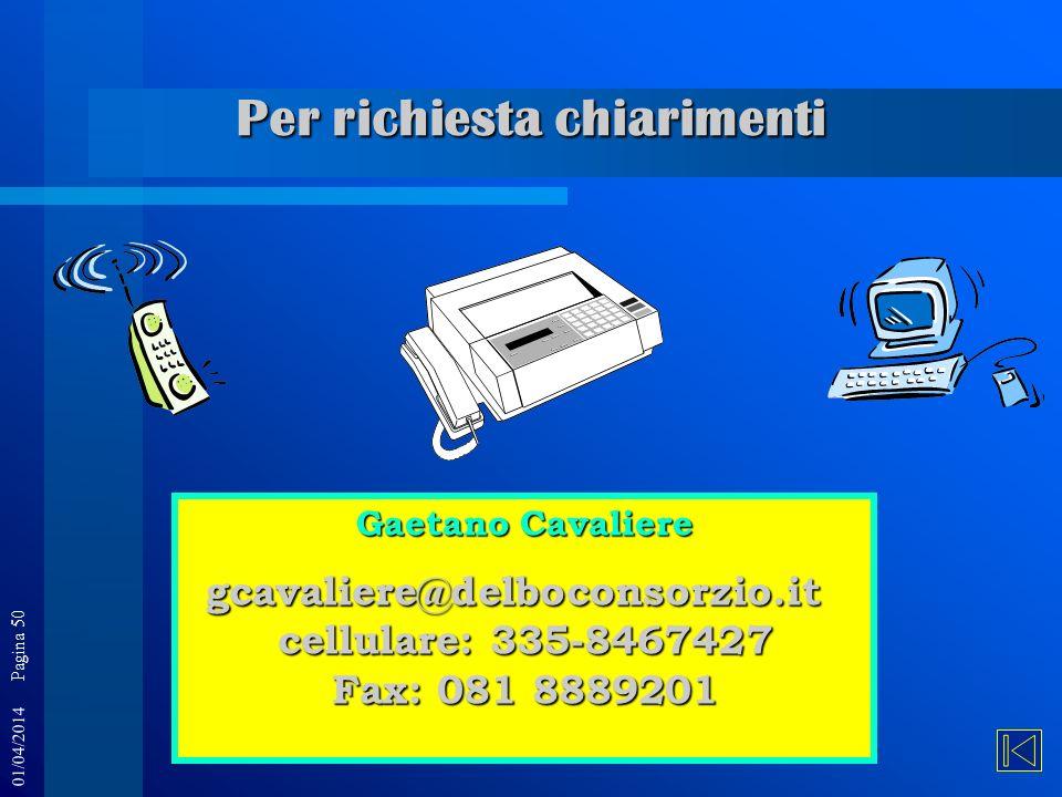 01/04/2014 Pagina 50 Gaetano Cavaliere gcavaliere@delboconsorzio.it cellulare: 335-8467427 Fax: 081 8889201 Per richiesta chiarimenti