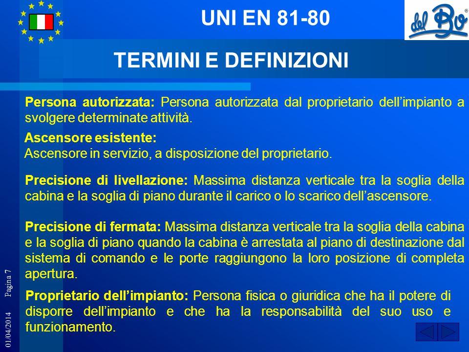 01/04/2014 Pagina 7 UNI EN 81-80 Persona autorizzata: Persona autorizzata dal proprietario dellimpianto a svolgere determinate attività. Ascensore esi