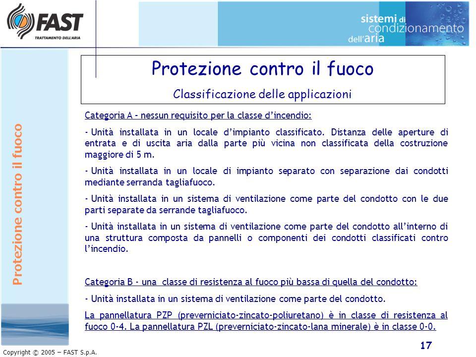 17 Copyright © 2005 – FAST S.p.A. Protezione contro il fuoco Classificazione delle applicazioni Categoria A – nessun requisito per la classe dincendio