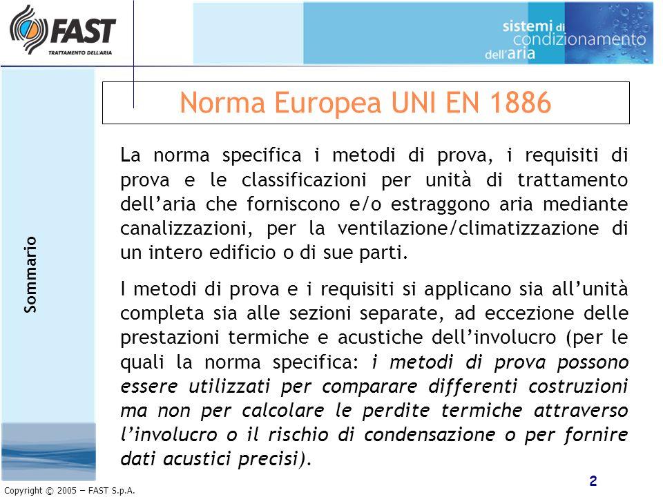 2 Copyright © 2005 – FAST S.p.A. Norma Europea UNI EN 1886 La norma specifica i metodi di prova, i requisiti di prova e le classificazioni per unità d