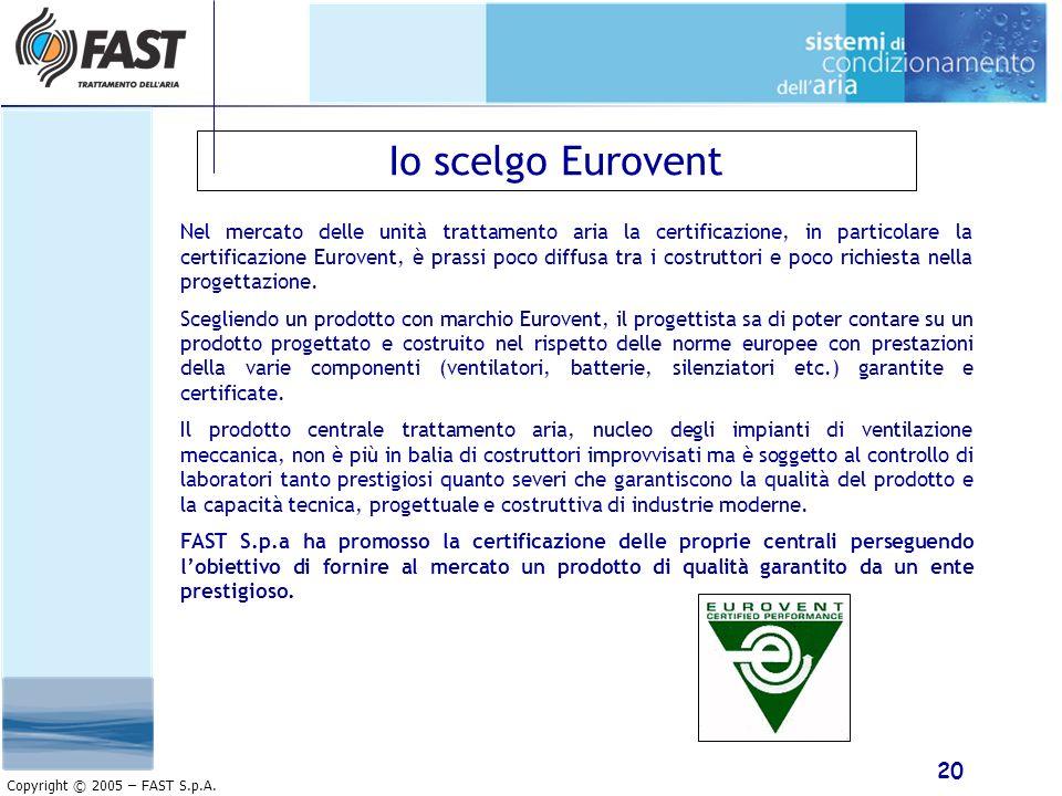 20 Copyright © 2005 – FAST S.p.A. Io scelgo Eurovent Nel mercato delle unità trattamento aria la certificazione, in particolare la certificazione Euro