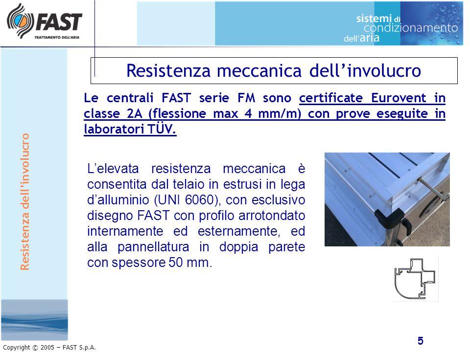 5 Copyright © 2005 – FAST S.p.A. Resistenza meccanica dellinvolucro Le centrali FAST serie FM sono certificate Eurovent in classe 2A (flessione max 4