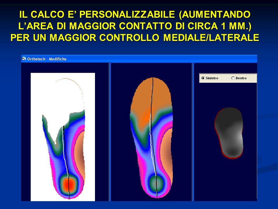 IL CALCO E PERSONALIZZABILE (AUMENTANDO LAREA DI MAGGIOR CONTATTO DI CIRCA 1 MM.) PER UN MAGGIOR CONTROLLO MEDIALE/LATERALE