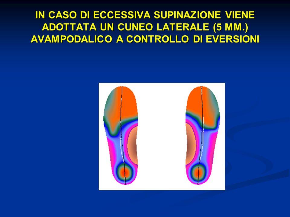 IN CASO DI ECCESSIVA SUPINAZIONE VIENE ADOTTATA UN CUNEO LATERALE (5 MM.) AVAMPODALICO A CONTROLLO DI EVERSIONI