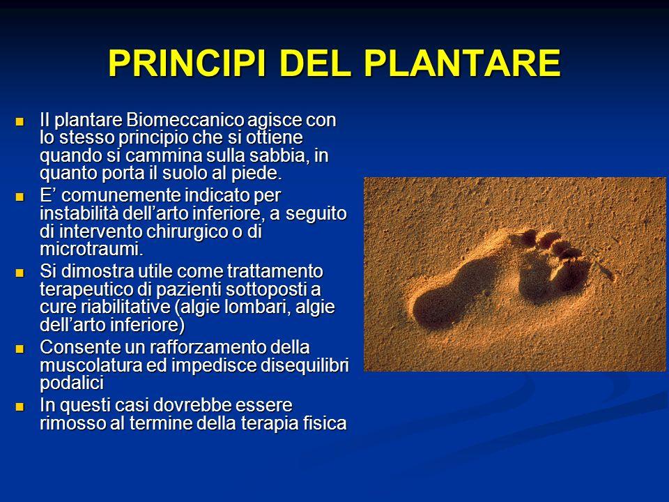 PRINCIPI DEL PLANTARE Il plantare Biomeccanico agisce con lo stesso principio che si ottiene quando si cammina sulla sabbia, in quanto porta il suolo