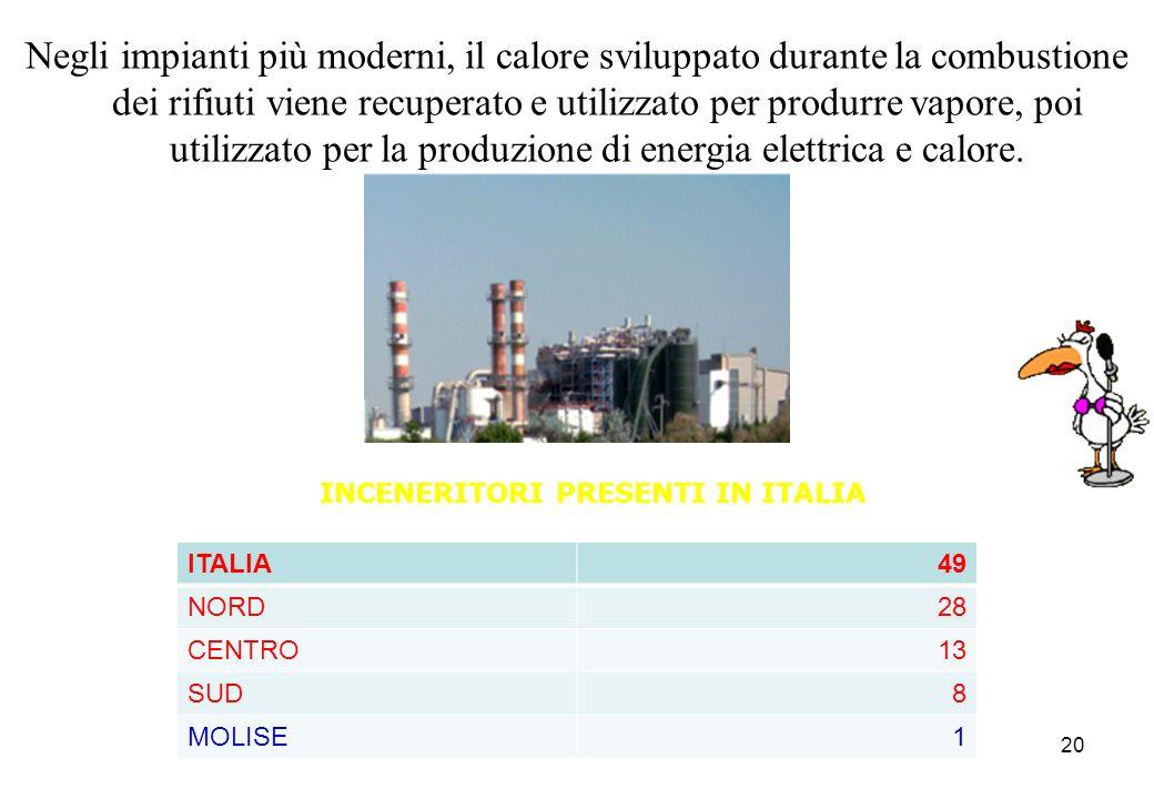 20 Negli impianti più moderni, il calore sviluppato durante la combustione dei rifiuti viene recuperato e utilizzato per produrre vapore, poi utilizza