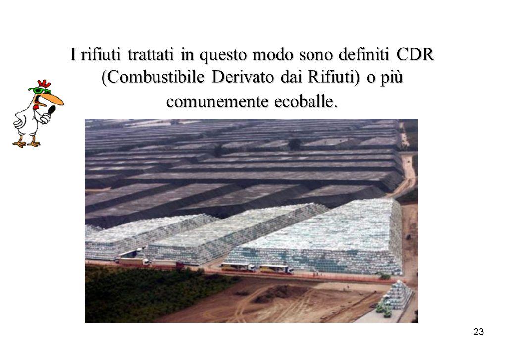 23 I rifiuti trattati in questo modo sono definiti CDR (Combustibile Derivato dai Rifiuti) o più comunemente ecoballe.