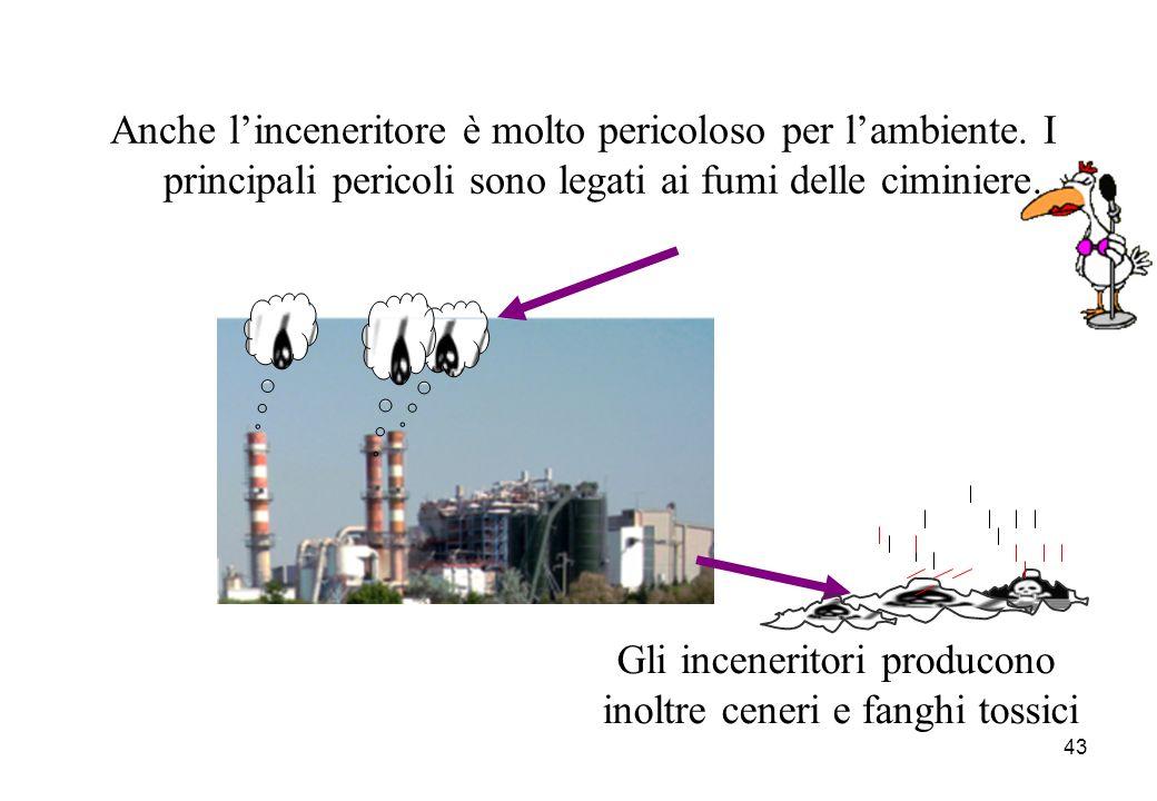43 Anche linceneritore è molto pericoloso per lambiente. I principali pericoli sono legati ai fumi delle ciminiere. Gli inceneritori producono inoltre
