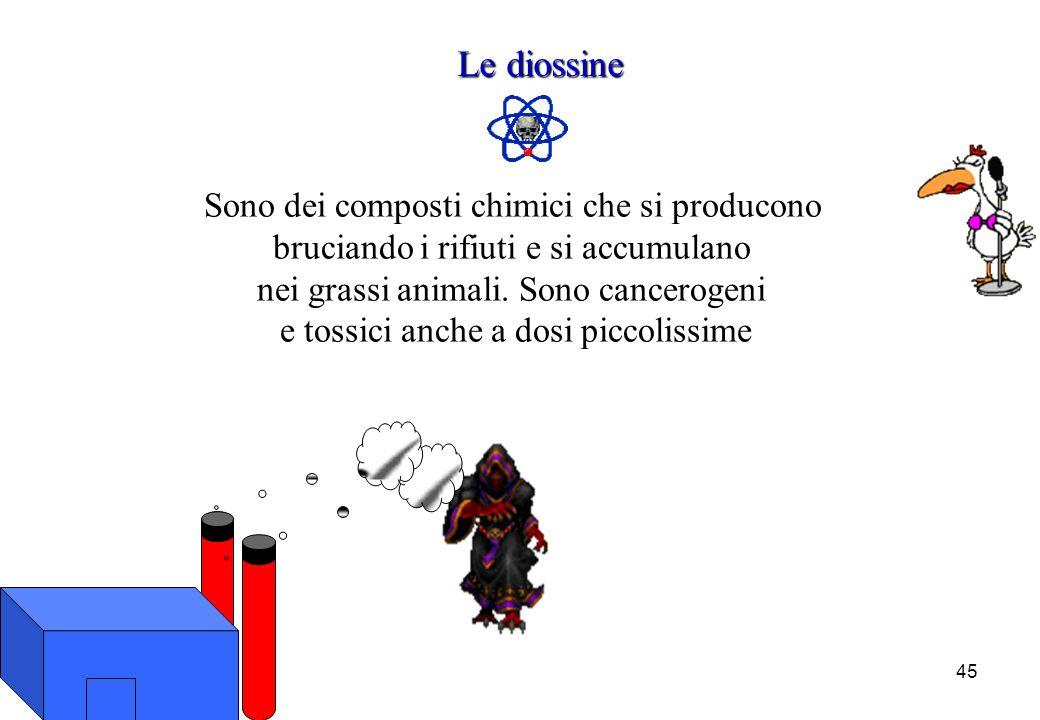 45 Le diossine Sono dei composti chimici che si producono bruciando i rifiuti e si accumulano nei grassi animali. Sono cancerogeni e tossici anche a d