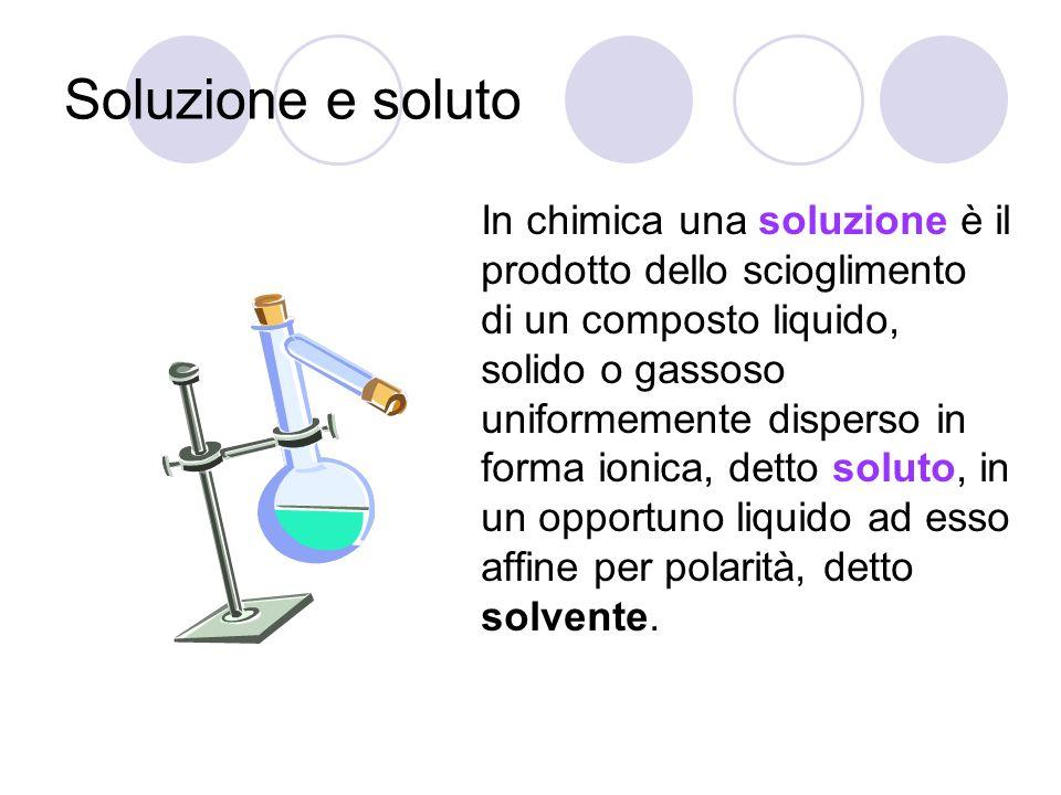 Soluzione e soluto In chimica una soluzione è il prodotto dello scioglimento di un composto liquido, solido o gassoso uniformemente disperso in forma