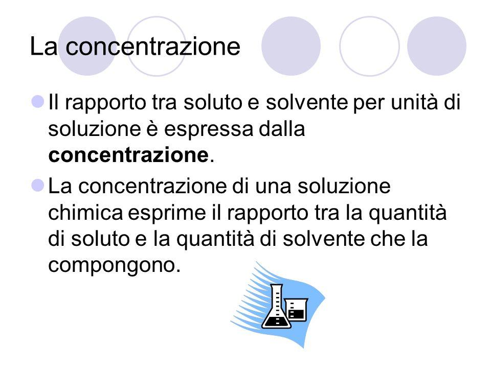 La concentrazione Il rapporto tra soluto e solvente per unità di soluzione è espressa dalla concentrazione. La concentrazione di una soluzione chimica