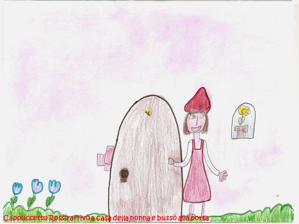Cappuccetto Rosso fece delle domande alla nonna ma subito capì che nel letto cera il lupo.