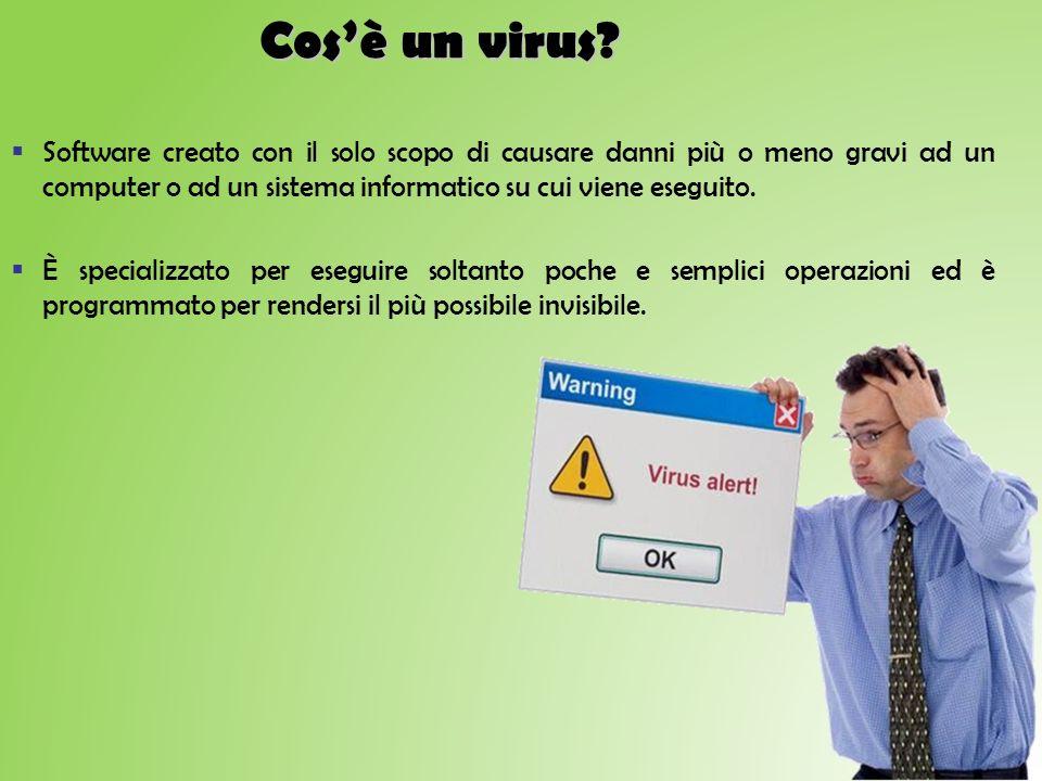 Cosè un virus? Software creato con il solo scopo di causare danni più o meno gravi ad un computer o ad un sistema informatico su cui viene eseguito. È