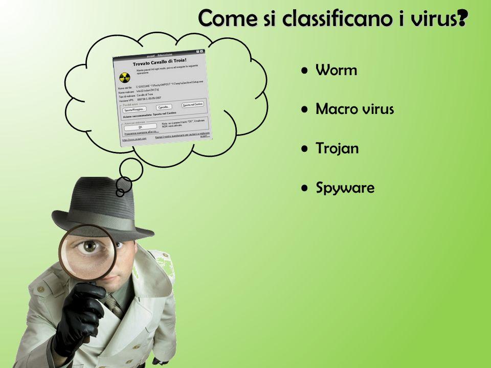 Come si classificano i virus ? Worm Macro virus Trojan Spyware