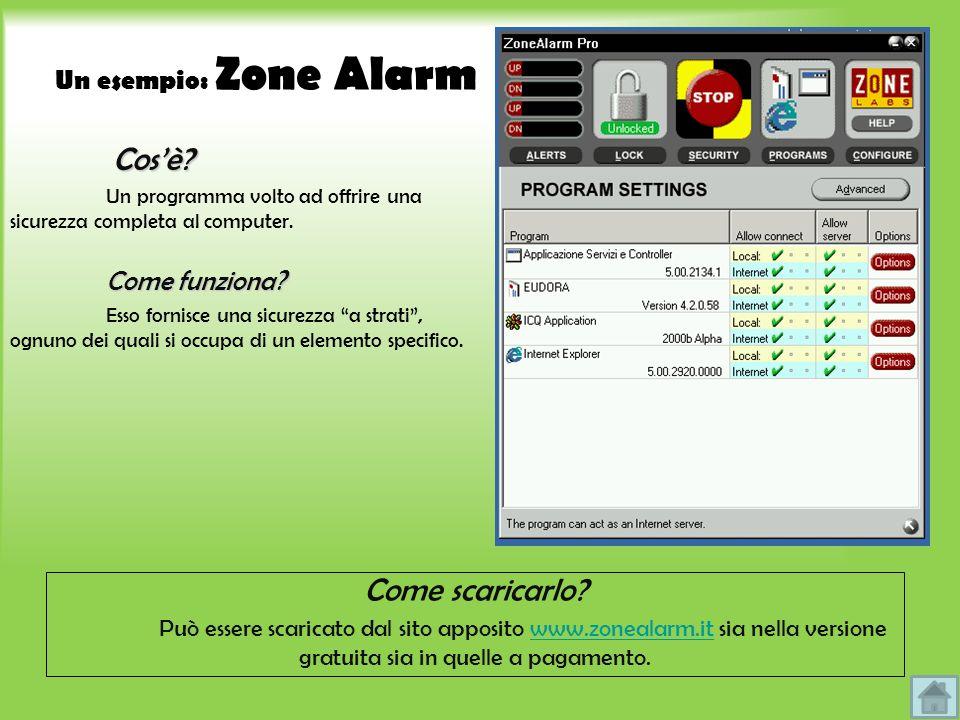 Un esempio: Zone Alarm Cosè? Cosè? Un programma volto ad offrire una sicurezza completa al computer. Come funziona? Esso fornisce una sicurezza a stra
