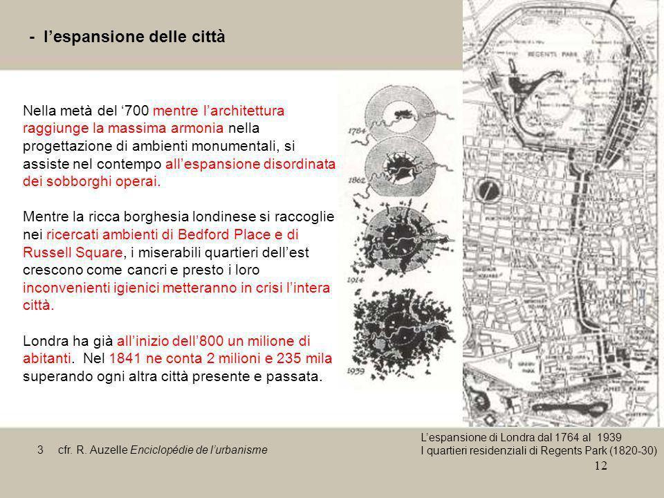 12 - lespansione delle città Nella metà del 700 mentre larchitettura raggiunge la massima armonia nella progettazione di ambienti monumentali, si assi