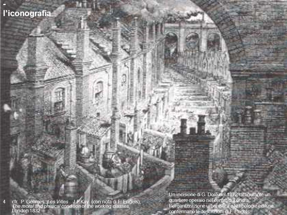 14 Un incisione di G. Dorè del 1872 raffigurante un quartiere operaio nel centro di Londra. Lorganizzazione urbanistica e le tipologie edilizie confer