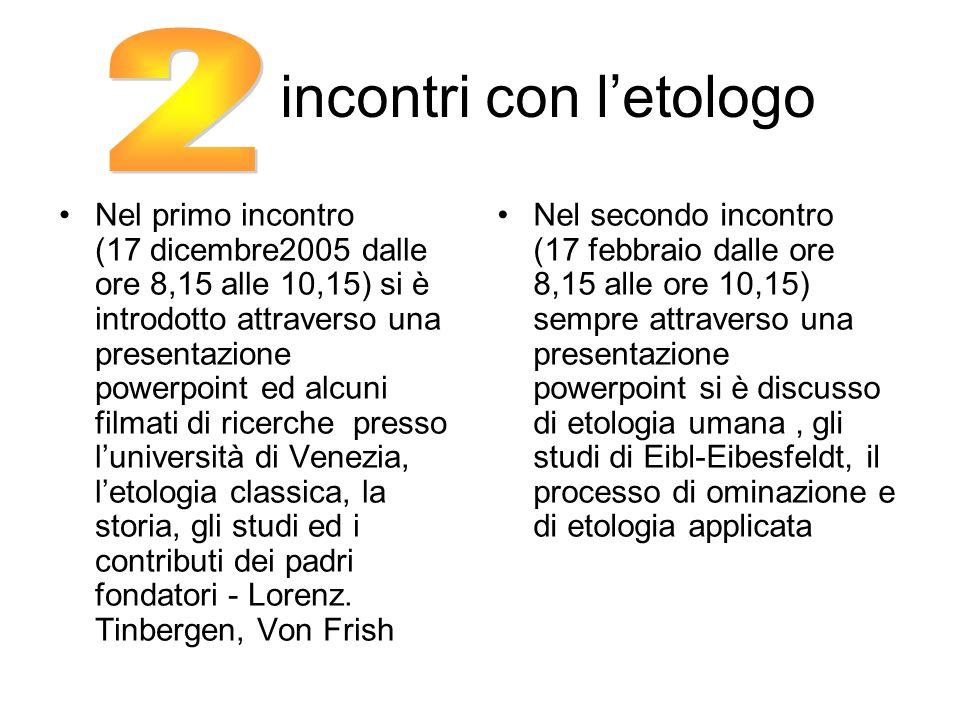 incontri con letologo Nel primo incontro (17 dicembre2005 dalle ore 8,15 alle 10,15) si è introdotto attraverso una presentazione powerpoint ed alcuni