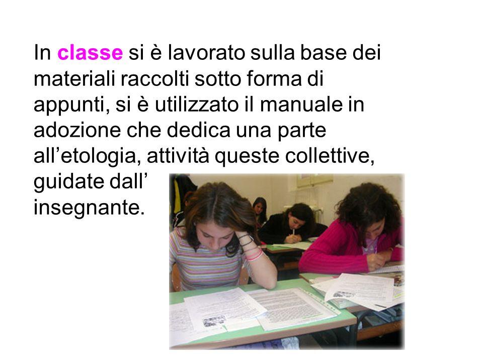In classe si è lavorato sulla base dei materiali raccolti sotto forma di appunti, si è utilizzato il manuale in adozione che dedica una parte alletolo