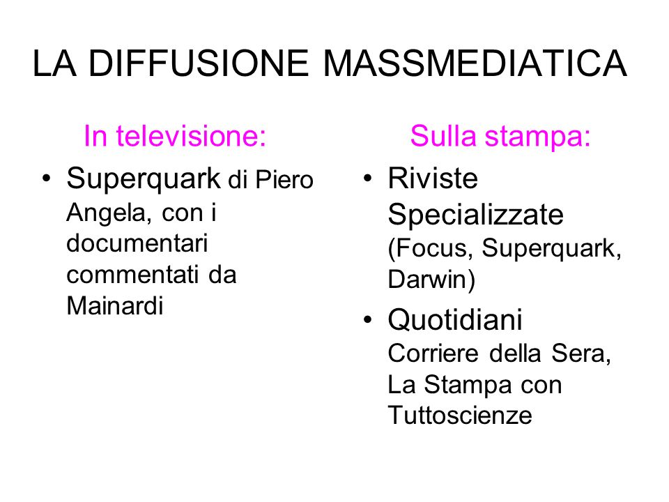 LA DIFFUSIONE MASSMEDIATICA Superquark di Piero Angela, con i documentari commentati da Mainardi Riviste Specializzate (Focus, Superquark, Darwin) Quo