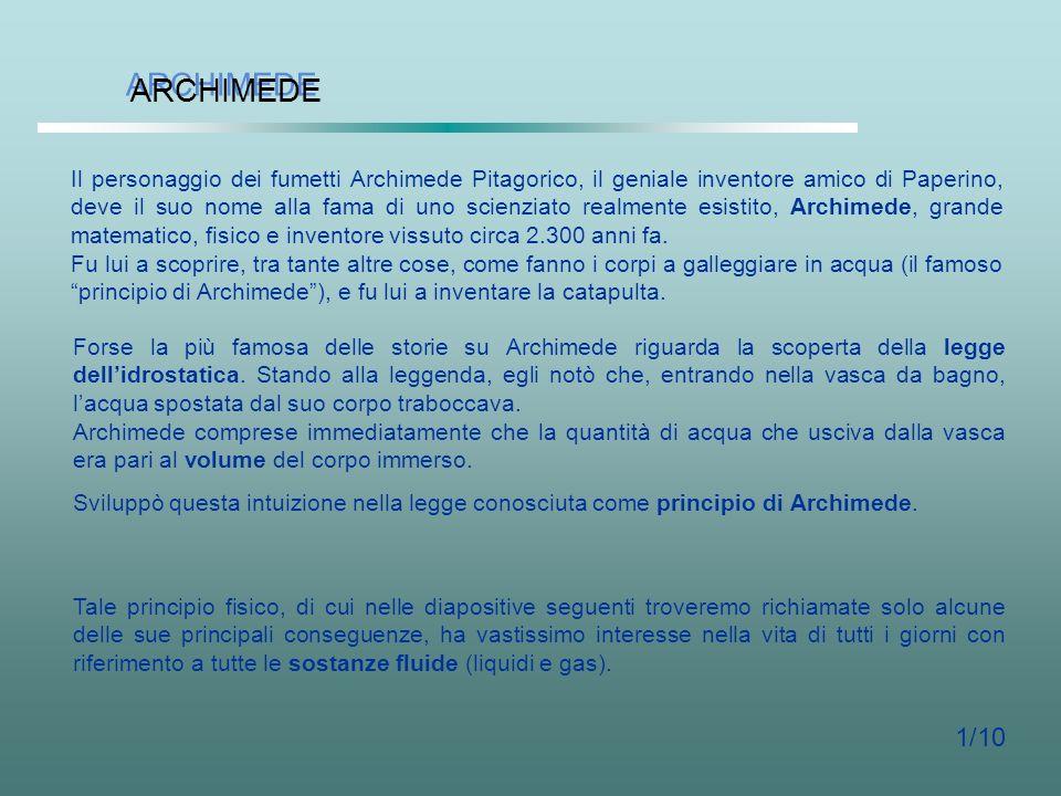 IL PRINCIPIO DI ARCHIMEDE IL PRINCIPIO DI ARCHIMEDE Specializzandi SICSI: G. Maurelli, S. Miranda, M. Petrillo Scuola Interuniversitaria Campana di Sp