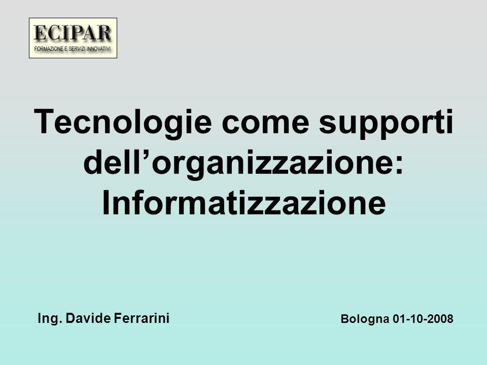 Tecnologie come supporti dellorganizzazione: Informatizzazione Bologna 01-10-2008 Ing.