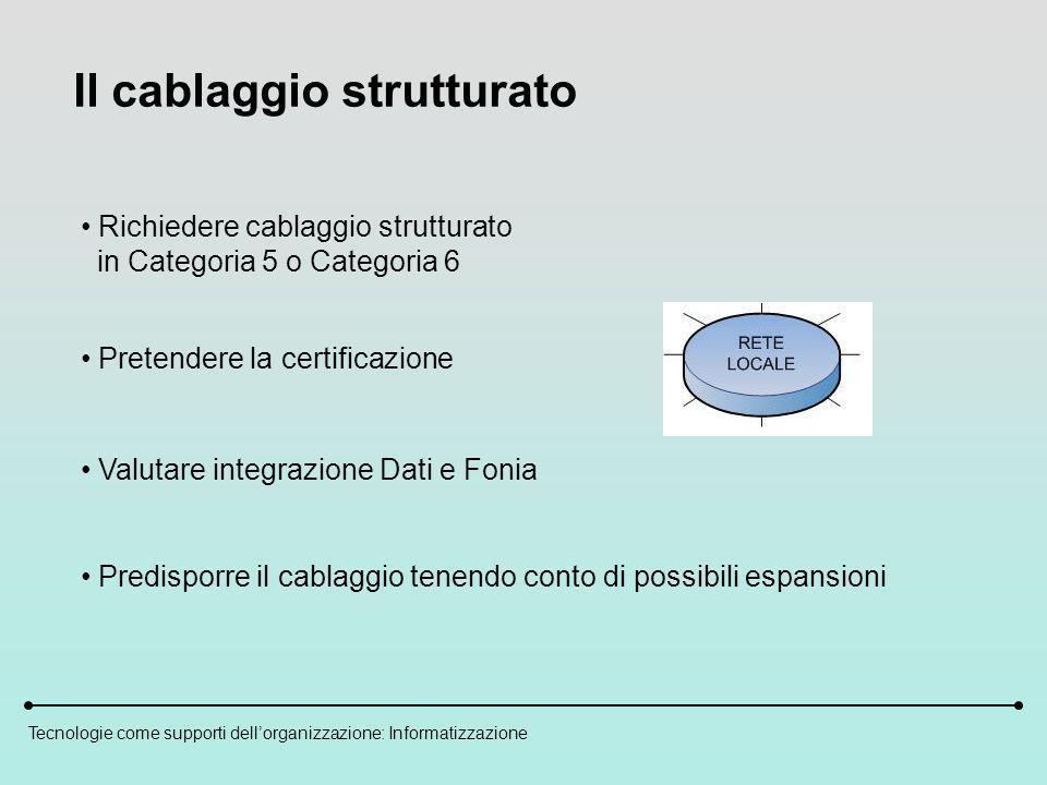 Tecnologie come supporti dellorganizzazione: Informatizzazione Il cablaggio strutturato Pretendere la certificazione Richiedere cablaggio strutturato in Categoria 5 o Categoria 6 Valutare integrazione Dati e Fonia Predisporre il cablaggio tenendo conto di possibili espansioni