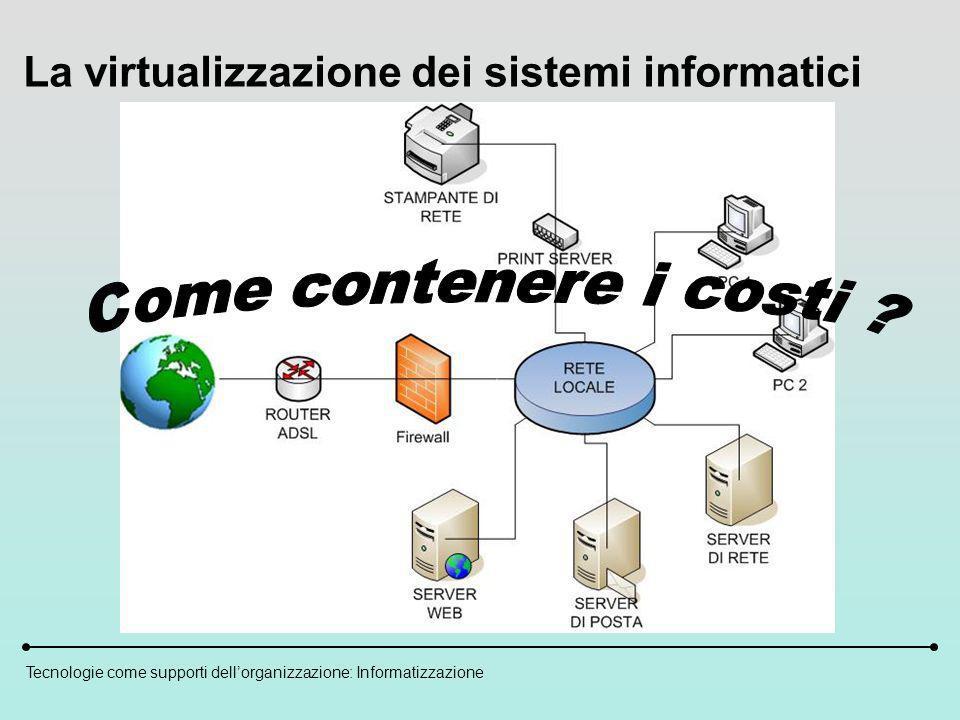 Tecnologie come supporti dellorganizzazione: Informatizzazione La virtualizzazione dei sistemi informatici