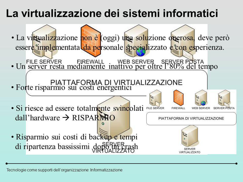 Tecnologie come supporti dellorganizzazione: Informatizzazione La virtualizzazione dei sistemi informatici La virtualizzazione non è (oggi) una soluzione onerosa, deve però essere implementata da personale specializzato e con esperienza.
