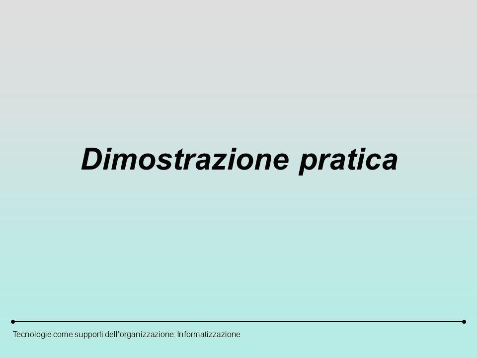Tecnologie come supporti dellorganizzazione: Informatizzazione Dimostrazione pratica