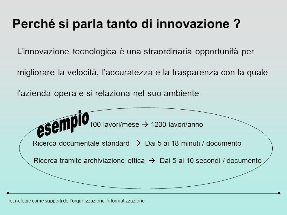 Tecnologie come supporti dellorganizzazione: Informatizzazione Perché si parla tanto di innovazione .