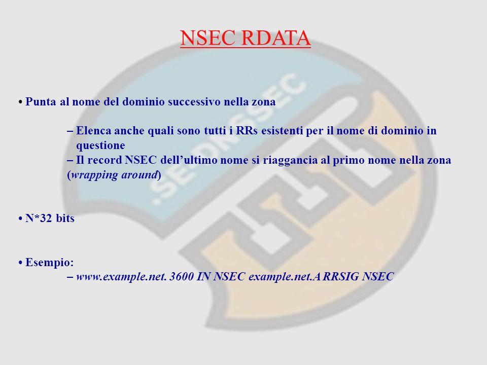 NSEC RDATA Punta al nome del dominio successivo nella zona – Elenca anche quali sono tutti i RRs esistenti per il nome di dominio in questione – Il record NSEC dellultimo nome si riaggancia al primo nome nella zona (wrapping around) N*32 bits Esempio: – www.example.net.