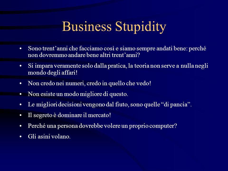 Business Stupidity Sono trentanni che facciamo così e siamo sempre andati bene: perché non dovremmo andare bene altri trentanni? Si impara veramente s