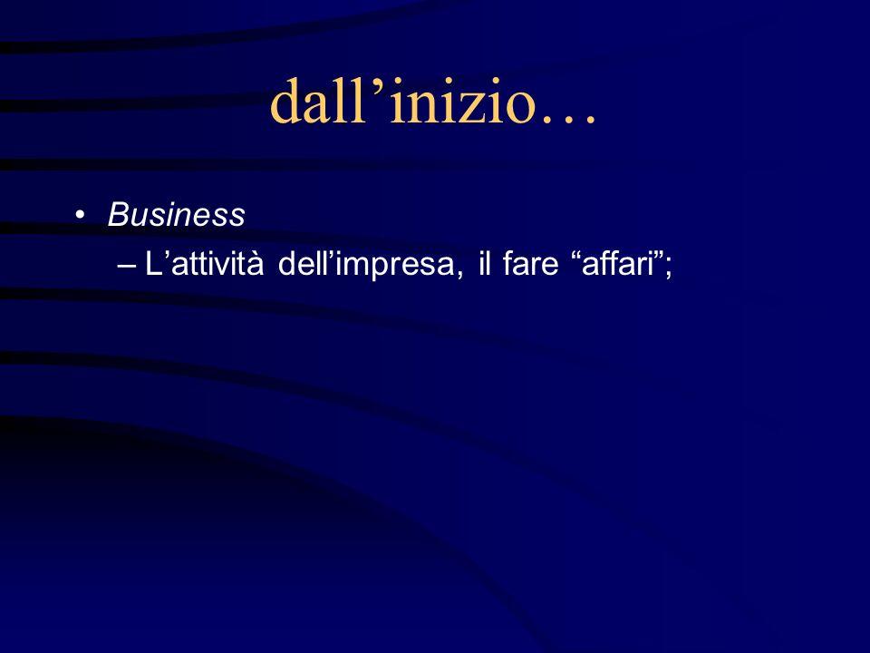 dallinizio… Business –Lattività dellimpresa, il fare affari;